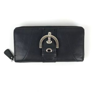 {Coach} Buckle Long Zipper Leather Wallet